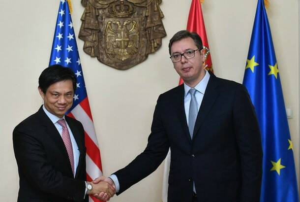 Srdjan Ilic: US diplomat Hoyt Brian Yee (left) and PM and president elect Aleksandar Vucic (right)