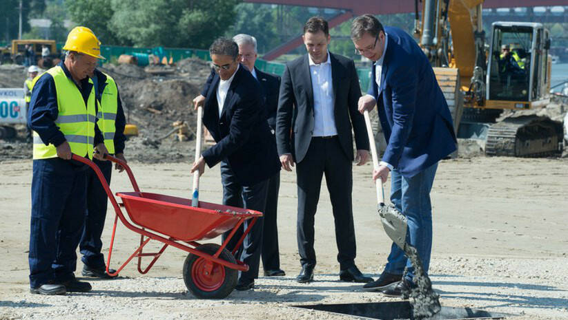 The beginning of the work on Belgrade Waterfront- Prime Minister Aleksandar Vucic (on the far right)