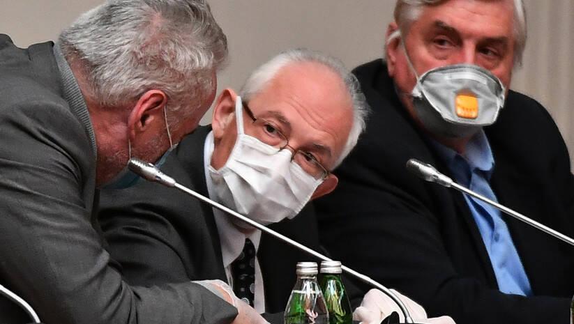 Branimir Nestorović, Predrag Kon i Branislav Tiodorović, Krizni štab za koronavirus Foto: Srđan Ilić