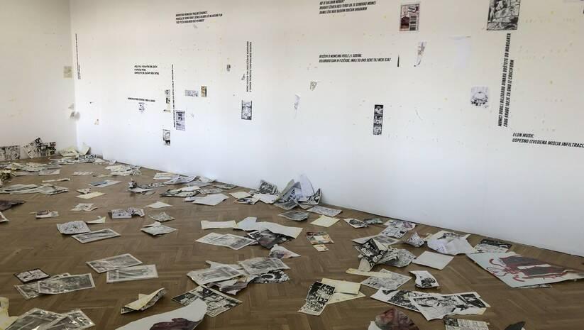 Posledice vandalskog napada na izložbu crnohumorne karikature u Staroj kapetaniji Foto: RFE