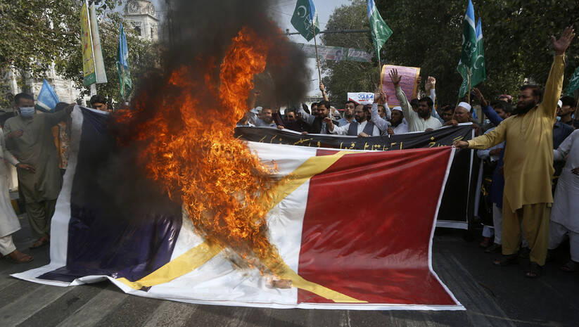 Protest muslimana u Pakistanu zbog karikatura proroka Muhameda, petak 30. oktobar 2020. AP Photo/K.M. Chaudary