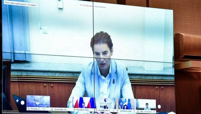 Ana Brnabić tokom današnjeg sastanka u okviru Berlinskog procesa Foto: Vlada Makedonije
