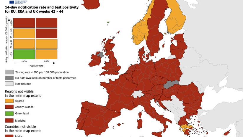 nedeljna mapa stope zaražavanja koronavirusom u Evropskoj uniji, Foto: reopen.europa.eu