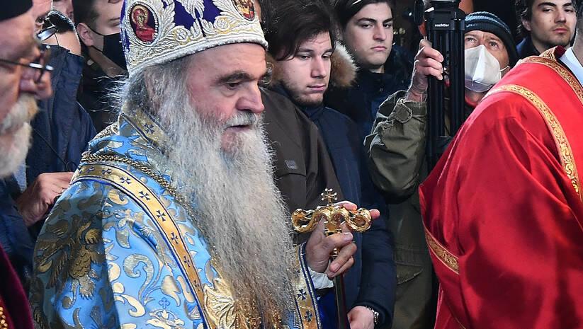 Vladika David na sahrani patrijarha Irineja Foto: Srđan Ilić
