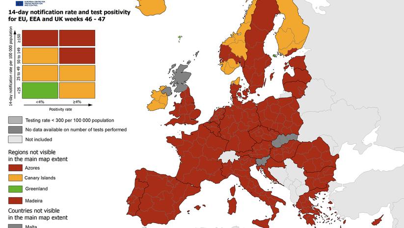 nedeljna mapa stope zaražavanja koronavirusom u EU, Foto: reopen.europa.eu