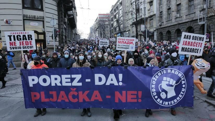 Protestna šetnja radnika na internetu  Foto: BETAPHOTO/LUKA FILIPOVIC/EV)