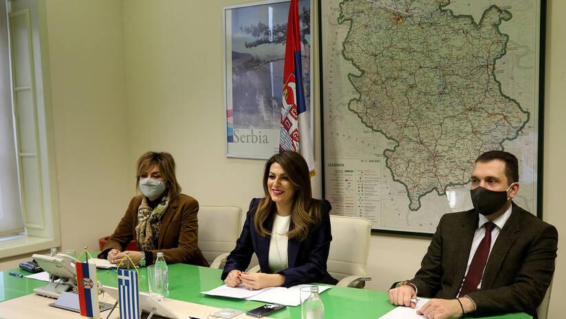 Tatjana Matić tokom razgovora s grčkim ministrom turizma Foto: Ministarstvo trgovine i turizma