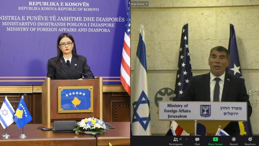 Meliza Haradinaj Stubla i Gabriel Aškenazi  tokom onlajn konferencije Foto: facebook/Meliza Haradinaj Stubla