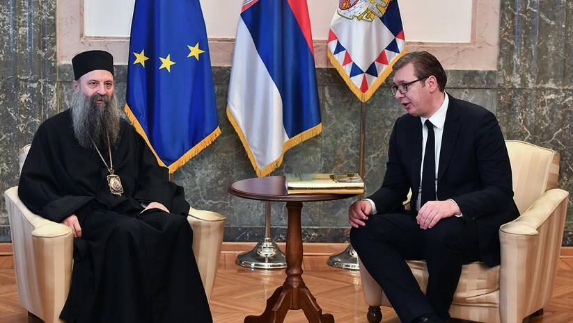 Aleksandar Vučić i patrijarh Porfirije Foto: Srđan Ilić