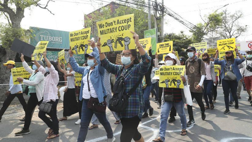 Protesti u Mjanmaru, 15. mart 2021, Foto: AP Photo