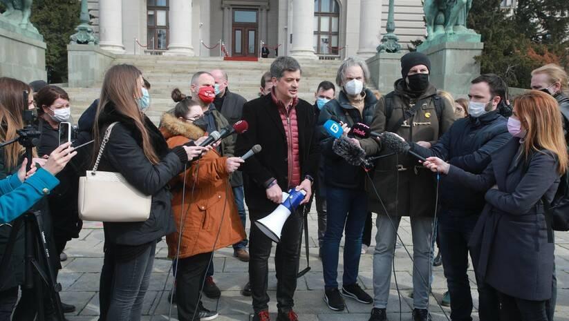 Konferencija za novinare više medijskih i novinarskih udruženja zbog napada  na nezavisne novinare i medije Foto: Betaphoto/Miloš Miškov