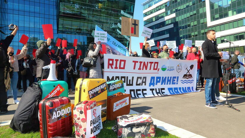 Protest ispred Kompanije Rio Tinto u Beogradu, Foto: Inicijativa Kreni - promeni