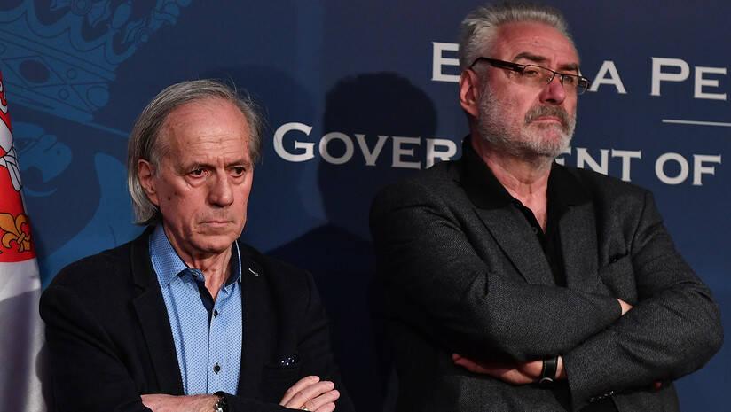 MIjomir Pelemiš i Branimir Nestorović na konferenciji za medije 13. marta 2020. Foto: Srđan Ilić